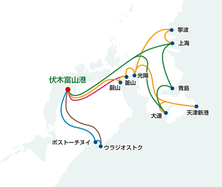 富山新港 コンテナ船航路